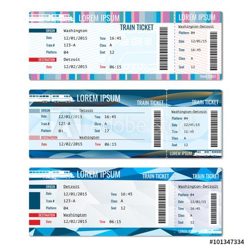 500x500 Train Tickets Vector Set. Railway Pass Card, Journey Passenger
