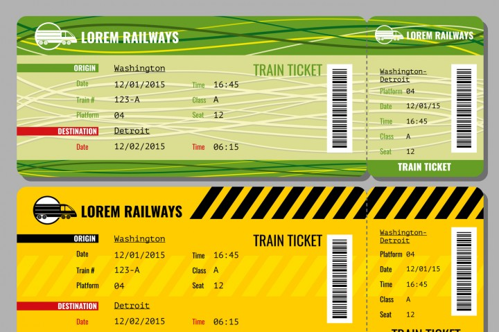 720x479 Train Vintage Travel Tickets Vector Set By Microvector