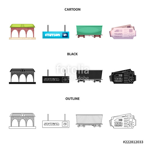 500x500 Vector Design Of Train And Station Icon. Set Of Train And Ticket