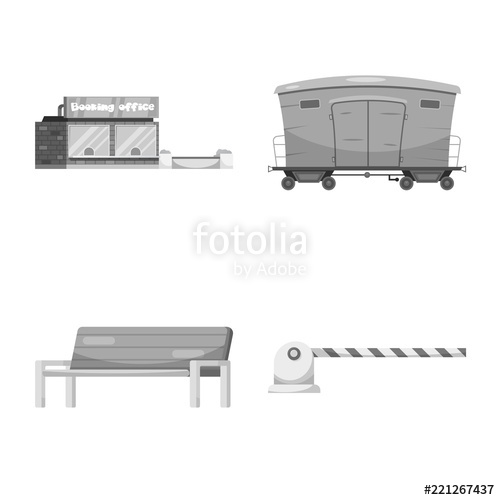 500x500 Vector Illustration Of Train And Station Icon. Set Of Train And