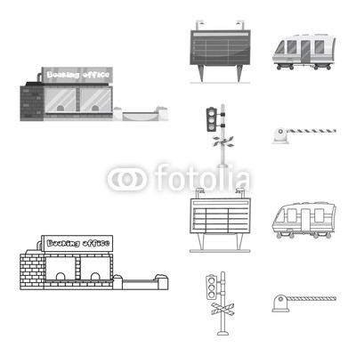 400x400 Vector Illustration Of Train And Station Logo. Collection Of Train