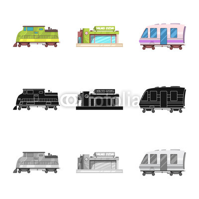 400x400 Vector Illustration Of Train And Station Logo. Set Of Train And
