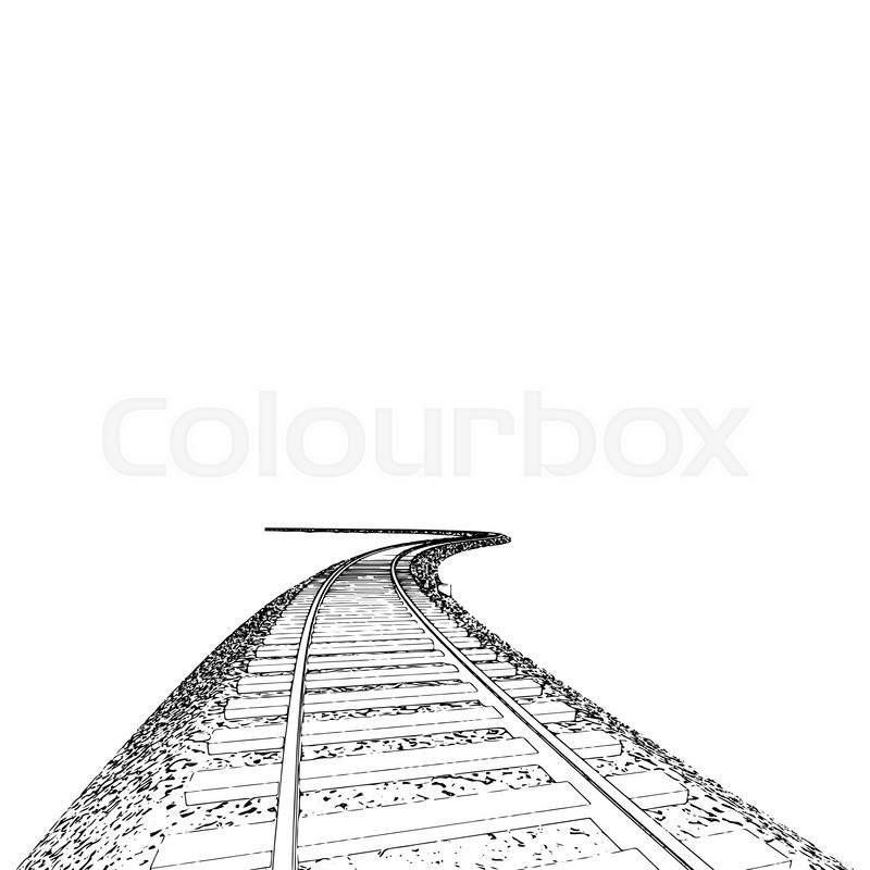 800x800 Vector Curved Endless Train Track. Sketch Of Curved Train Track