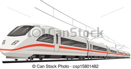 450x239 Vector Of Speed Train. Vector Illustration Of Bullet Train With Cable.