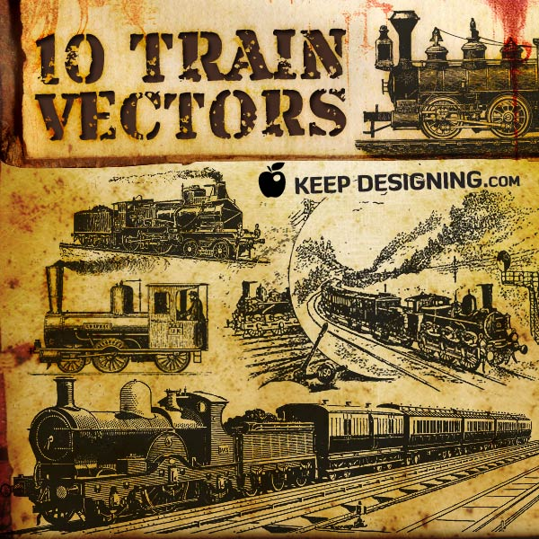600x600 Vector Art Antique Train And Rail Car Clip Art Graphics Vintage