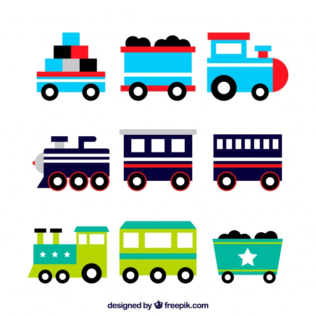 626x626 Great Pack Of Colored Toy Trains Vector Free Download