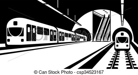 450x245 Subway Station With Trains. Platform Of Subway Station With Trains