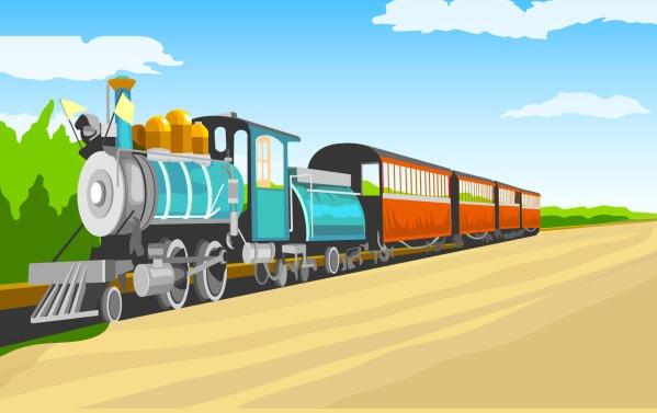 599x377 Cartoon Retro Train Vector Free Vectors Ui Download