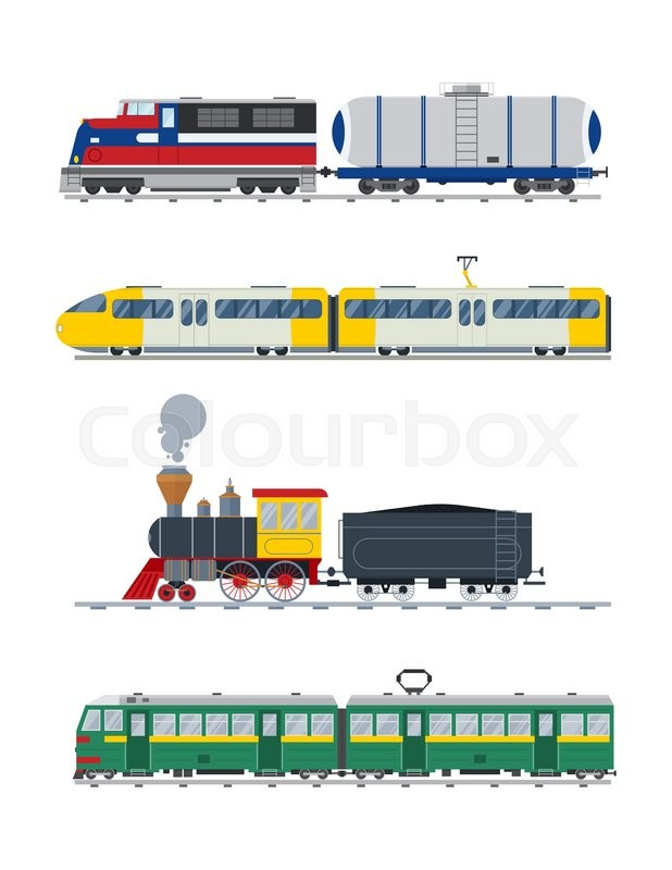 618x800 Modern And Vintage Trains Vector Collection. Trains Vector