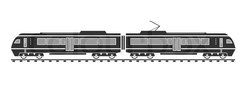 800x280 Silhouette Of Electric Train. Vector Illustration. Eps 10. Opacity