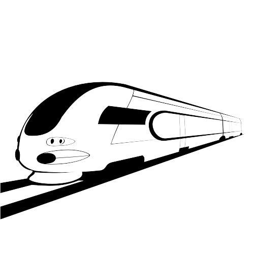 500x500 Abstract Sketch Black Amp White Bullet Train