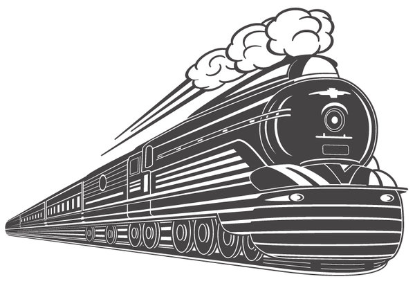 600x416 Art Deco Train Vector Design By Wall Decal Shop