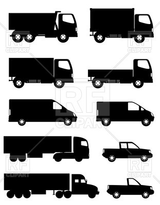 311x400 Side Silhouettes Of Trucks For Transportation Cargo Vector Image