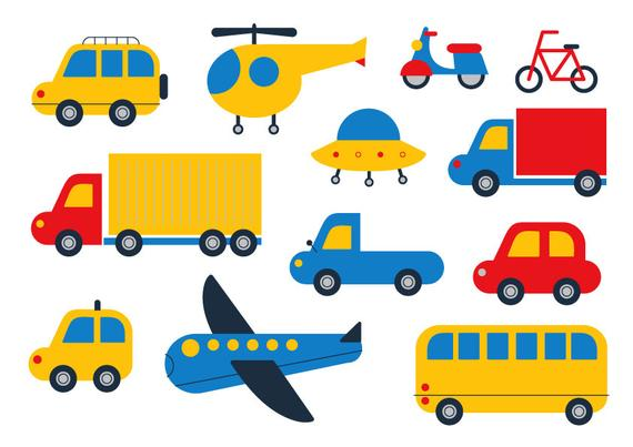 570x403 Car Clipart Cute Clipart Transport Vector Plane Bicycle Etsy