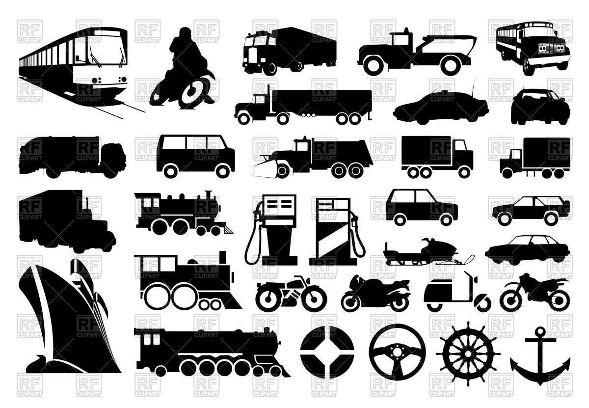 1200x831 Collection Of Silhouettes Of Various Transport Vector Image