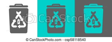 450x170 Trash Bin Vector Element With Battery Outline Icon. Eco Style Flat