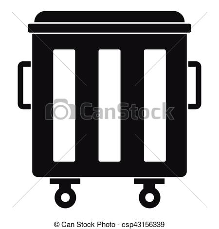 450x470 Metal Trashcan Icon, Simple Style. Metal Trashcan Icon. Simple