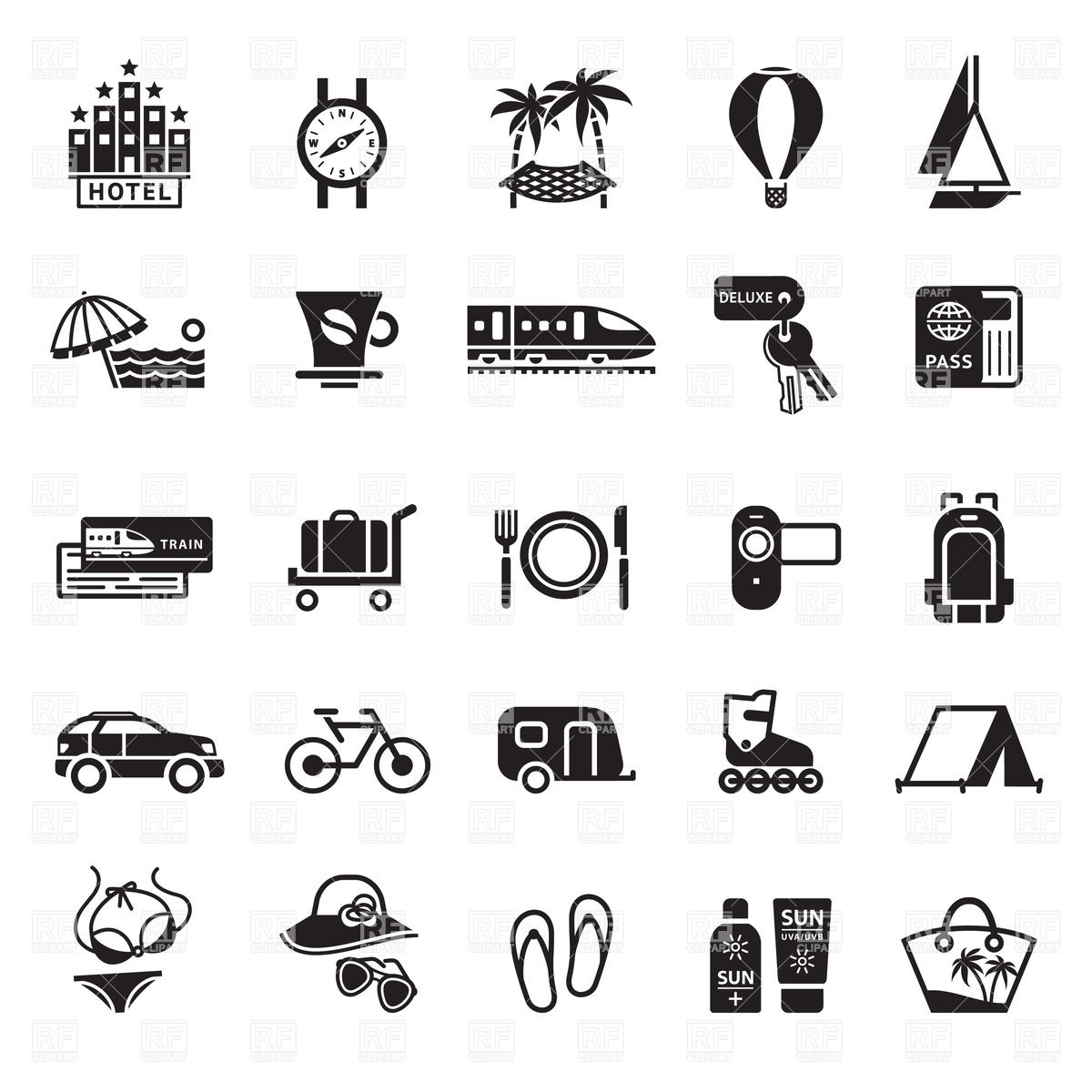 1200x1200 Vacation, Travel And Trip Icons Vector Image Vector Artwork Of