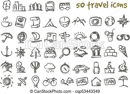 450x326 Vector Doodle Travel Icons Set. Vector Doodle Travel Icons Set