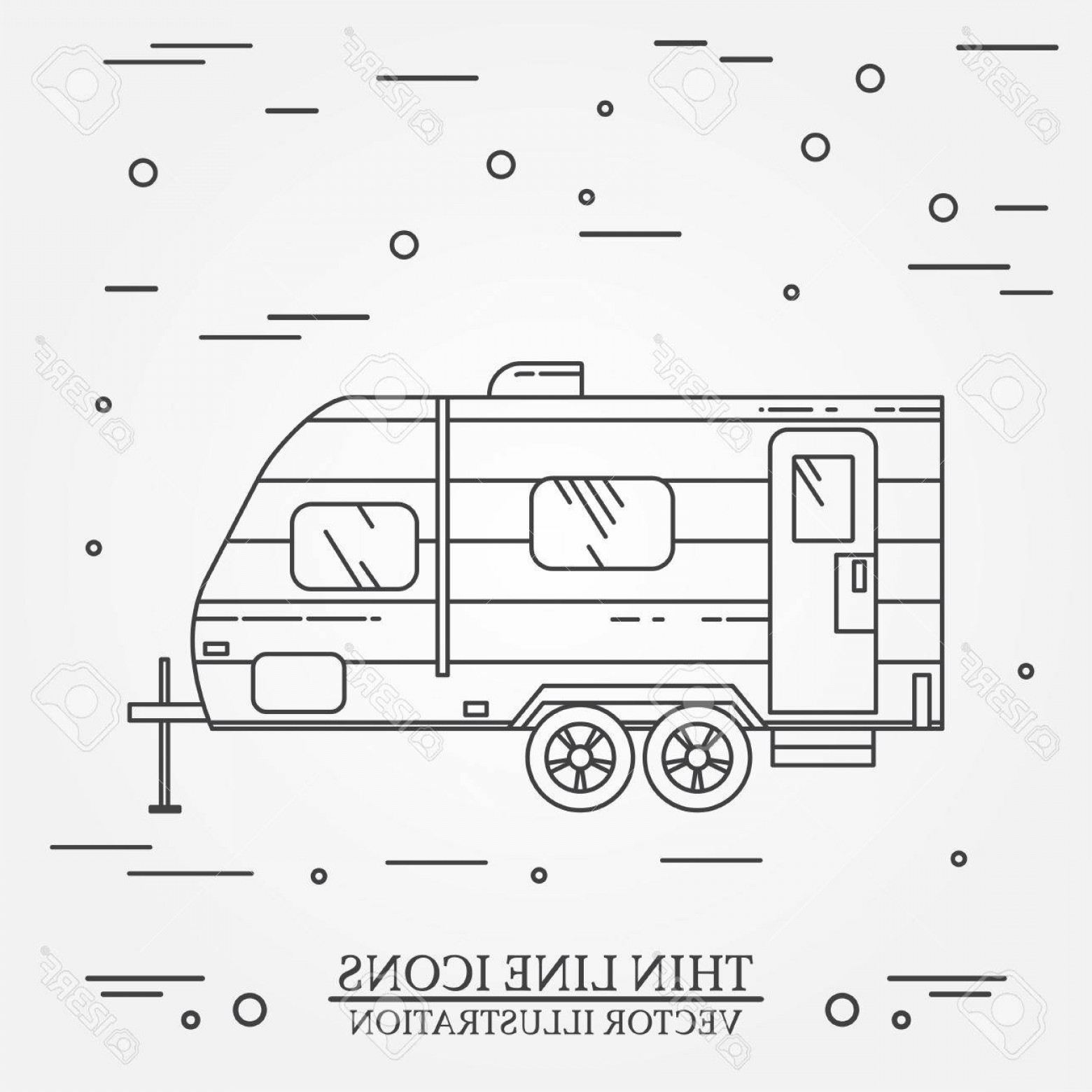 1560x1560 Photostock Vector Rv Camper Trailer Thin Line Camping Rv Trailer