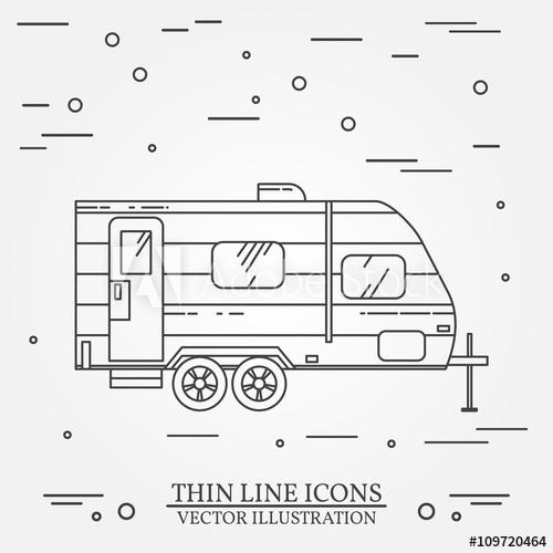 500x500 Rv Camper Trailer Thin Line. Camping Rv Trailer Caravan Outline