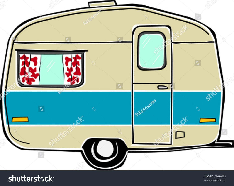 1500x1195 Retro Happy Hippie Vintage Travel Trailer Camper Vector