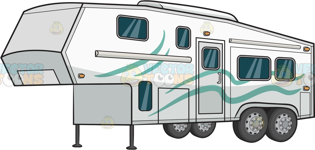 1024x489 A Modern Camper Trailer Clipart By Vector Toons