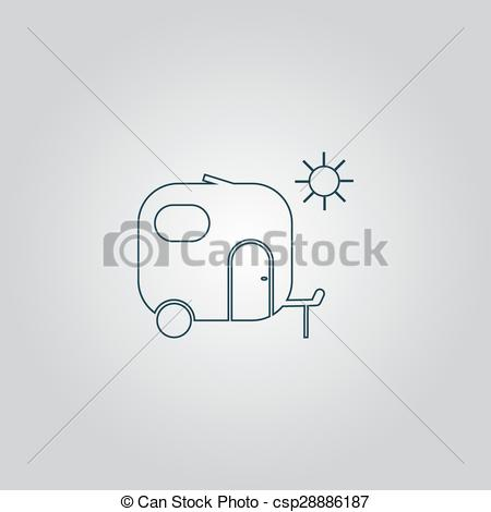 450x470 Travel Trailer Flat Icon . Travel Trailer. Flat Web Icon, Sign Or