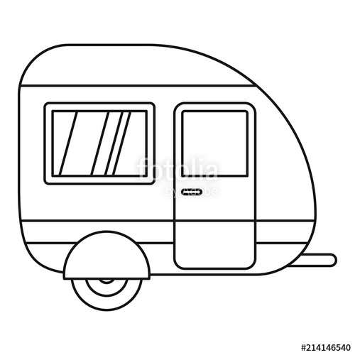 500x500 Travel Trailer Icon. Outline Travel Trailer Vector Icon For Web
