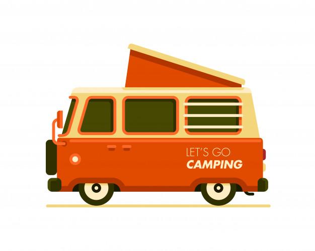 626x500 Camper Van Travel Trailer Vector Illustration Vector Premium