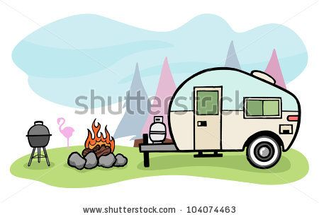 450x307 Camping Scenes Clip Art Vintage Style Camper Trailer And Camping