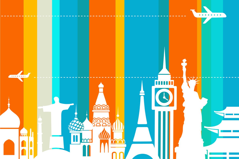 1500x1000 Travel Vector Wallpaper Design For Travel Agencies Interior Decor