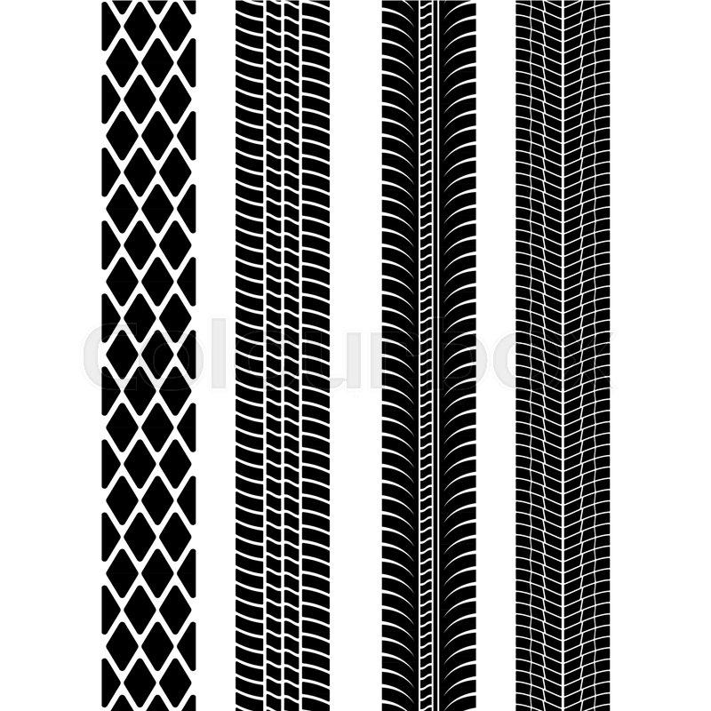 800x800 Set Of Detailed Tire Prints. Modern Tire Tread. Tire Mark Black
