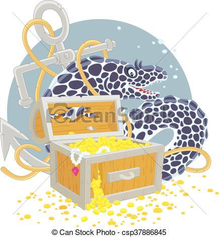435x470 Moray And A Treasure Chest. Vector Illustration Of A Big Spotted