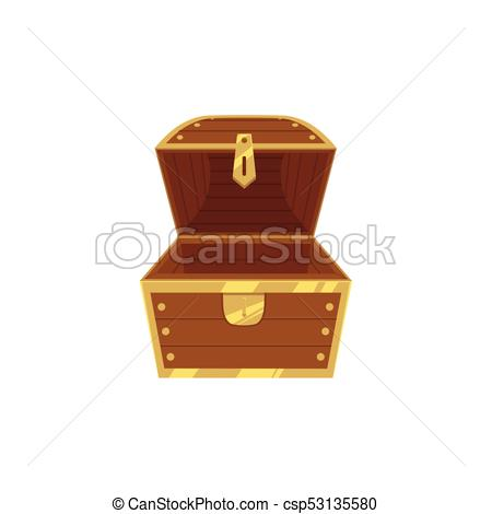 450x470 Open Empty Wooden Pirate Treasure Chest, Front View, Flat Style