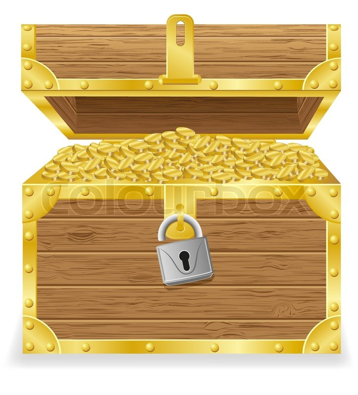 724x800 Antique Treasure Chest Vector Illustration Stock Vector Colourbox