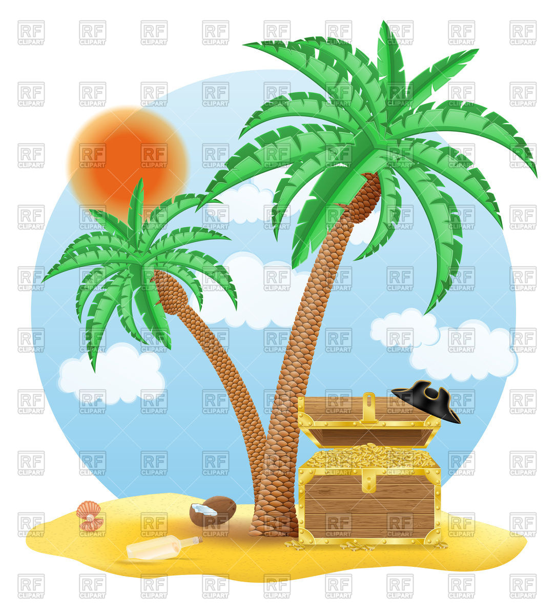 1087x1200 Treasure Chest On The Beach Under A Palm Tree Vector Image