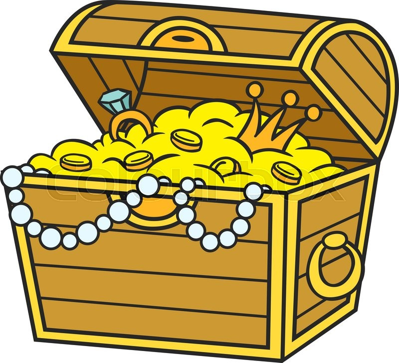 800x729 Treasure Chest Full Of Gold And Jewels. Cartoon And Vector