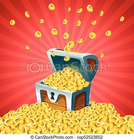 450x470 Vector Cartoon Style Illustration Of Open Treasure Chest With