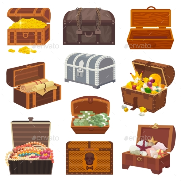 590x590 Chest Vector Treasure Box With Gold Money Wealth By Vectoristik