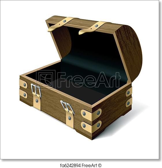 561x581 Free Art Print Of Empty Treasure Chest. Detailed Vector