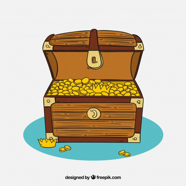 626x626 Hand Drawn Wooden Treasure Chest Vector Free Download