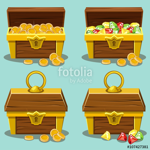 500x500 Opened And Closed Antique Treasure Chest Stock Image And Royalty