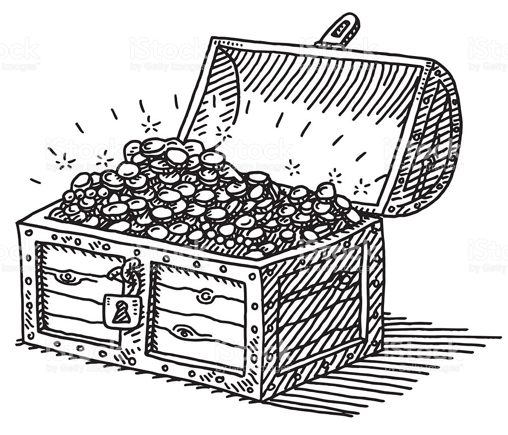 1024x877 Collection Of Treasure Chest Line Drawing High Quality, Free