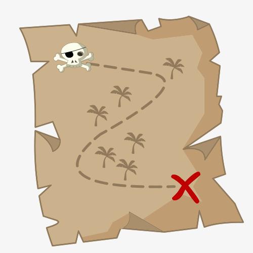 500x500 Cartoon Treasure Map, Cartoon Cartoon Material, Vector Material