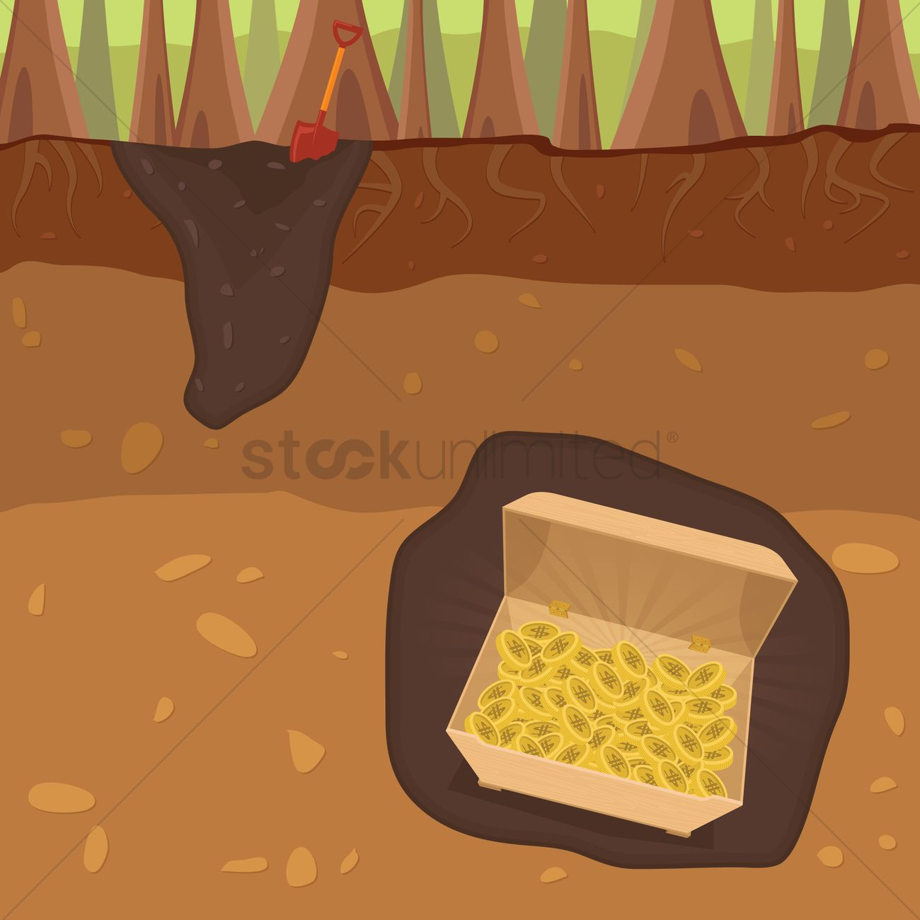 1300x1300 Buried Treasure Vector Image