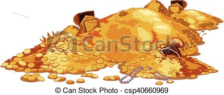 450x191 Pile Treasure. Illustration Of A Magic Treasury.