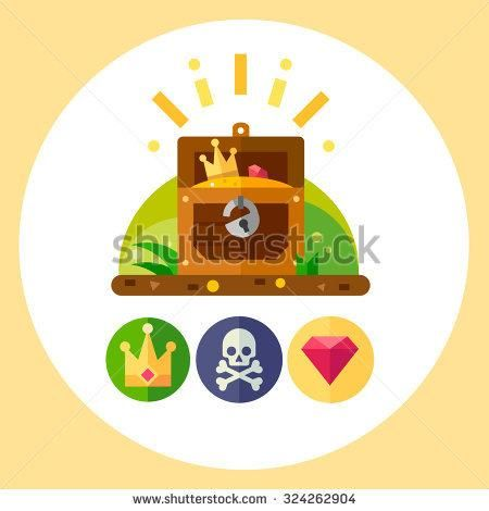 450x470 Pirate Treasure Vector Illustration Set Treasure Chest, Gold