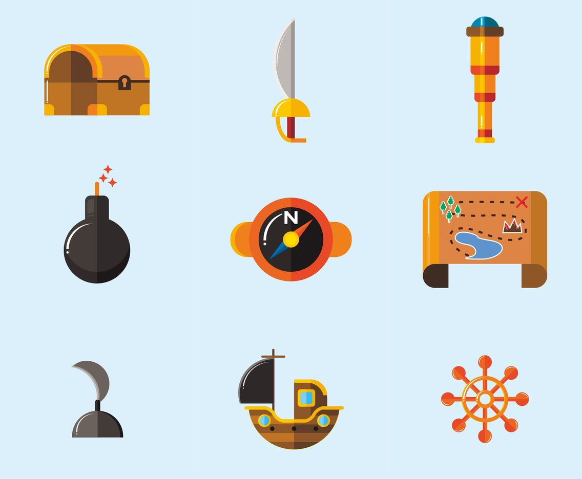 1136x936 Pirates And Treasure Vector Icons Vector Art Amp Graphics