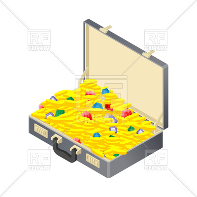 400x400 Suitcase With Gold Treasure Vector Image Vector Artwork Of Signs